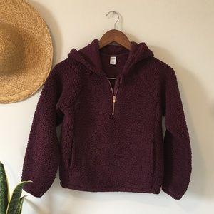 Girl's Sherpa Fleece 1/4 Zip Hoodie 10/12